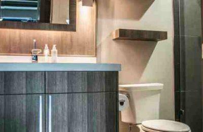 Concrete Sink & Grey Wood Cabinets - Gainesville Florida Straw Custom Woodwork