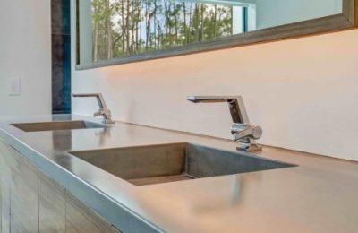 Custom Designed Vanity with Concrete Sink - Gainesville Florida Straw Custom Woodwork