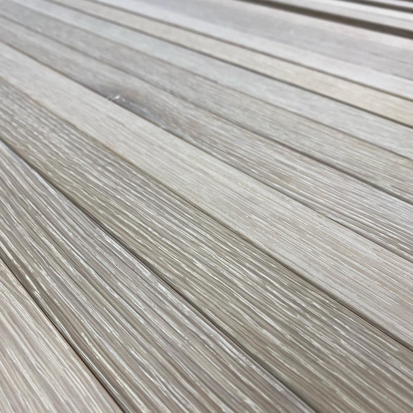 Wire brushed white oak panels in process.