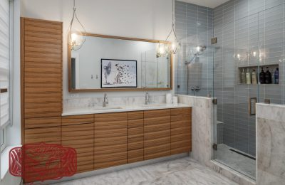 modern master bath horizontal grain