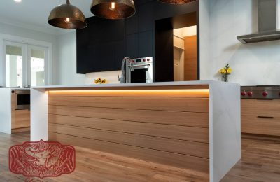 Custom made white oak modern cabinets